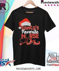 Glitter Santas Favorite Nurse Christmas Xmas TShirt
