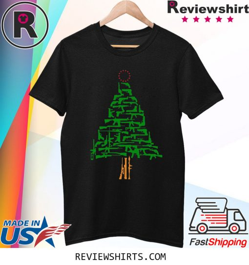 Guns Christmas Tree Funny T-Shirt