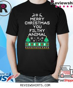 Merry Christmas you filthy animal funny ugly Christmas Xmas T-Shirt