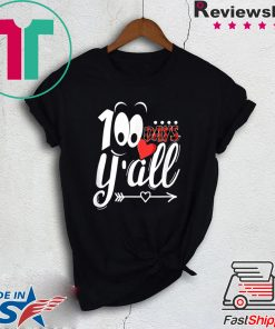 100 Days Y'all Happy 100th Day Of School Red Buffalo Plaid Gift T-Shirts